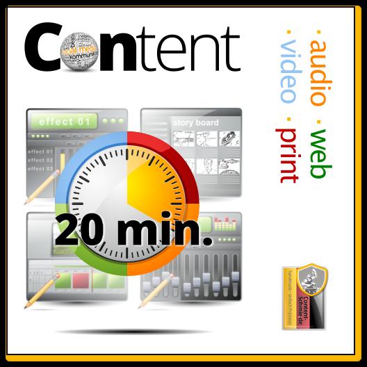 Content: Audio, Video, Web, Print und Text - mit Inspiration. Einheit: 20 min.